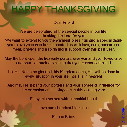 Thanksgiving Message 2009 CR